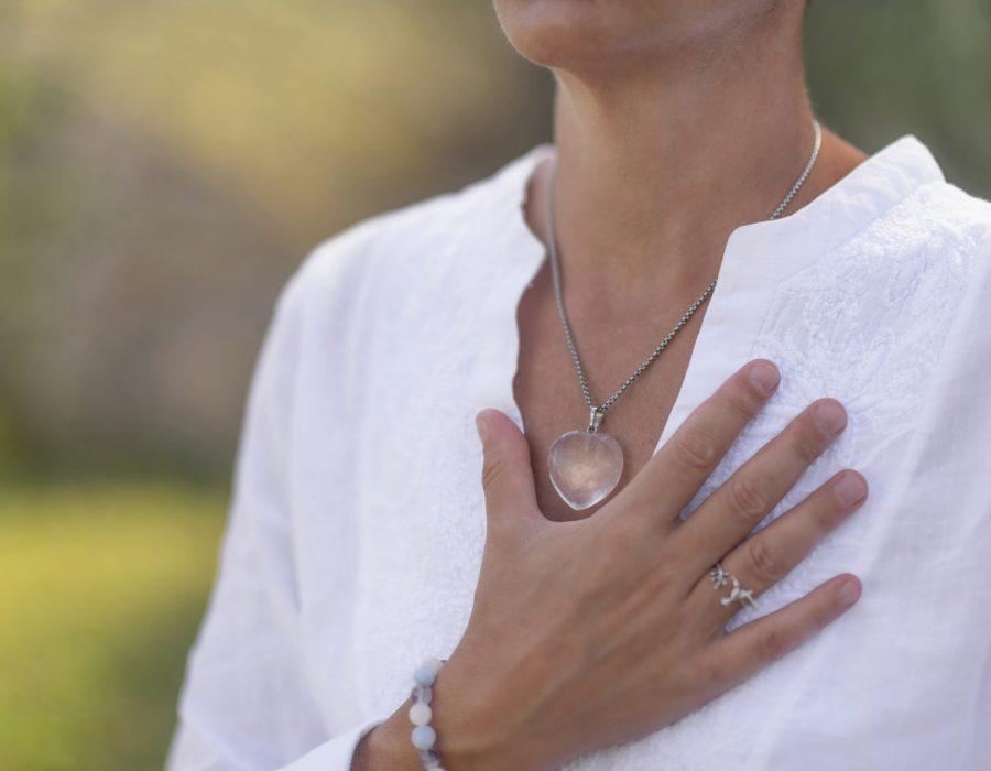 Spiritual Healer Expressing Honesty with her Hands